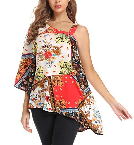 FanXinXing Women's Summer One Shoulder Tops Lose Sexy Print Irregular Hem Asymmetrical Tunic Blouses M-Red