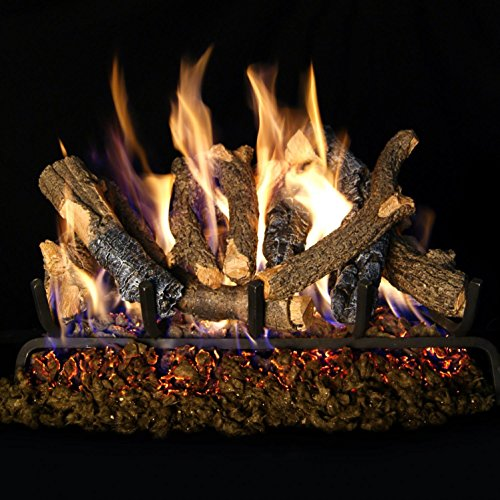 Stack Oak (Peterson Real Fyre 24-inch Charred Oak Stack Gas Log Set With Vented Propane Ansi Certified G46 Burner - Variable Flame Remote)