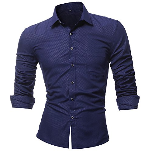 Men Tops Blouses Clearance WEUIE Personality Men's Lattice Casual Slim Long Sleeve Printed Shirt Top Blouse (XL,Navy) by WEUIE (Image #2)
