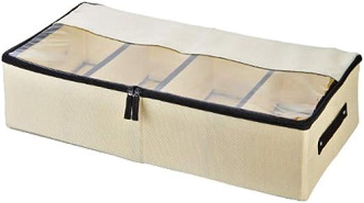 Organizador de zapatos para ropa Multifunci/ón plegable debajo de la cama caja de almacenamiento con tapa a prueba de polvo Dark Gray 4 compartimentos