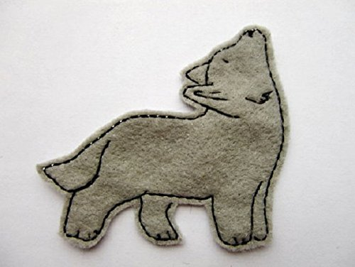 Wolf embroidered iron on patch in gray felt with black embroidery thread