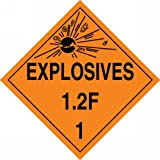 Accuform Signs MPL114VP100 Plastic Hazard Class 1/Division 2F DOT Placard, Legend ''EXPLOSIVES 1.2F 1'' with Graphic, 10-3/4'' Width x 10-3/4'' Length, Black on Orange (Pack of 100)