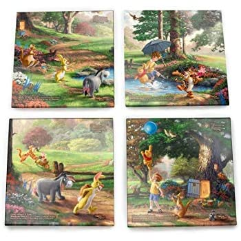 Disney Winnie the Pooh Glass Coaster Set - Comes With Stylish Modern Wooden Holder