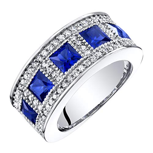 (Sterling Silver Princess Cut Created Sapphire Anniversary Ring Band Wide Width 2 Carats Size 7)