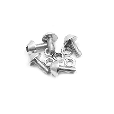 uxcell 5Pcs M6 Aluminum Alloy Hex Socket Head Motorcycle Bolts Screws Nuts Silver Tone: Automotive