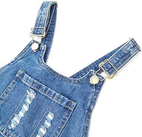 517kmd0Dw5L. AC KIDSCOOL SPACE Girls Boys Denim Ripped Overalls,Washed Distressed Cotton Jean Pants    Note:Recommended to buy from Kidscool,Better Quality guaranteed and Free gift The age range size is just for reference,please check the detail size and choose a correct one Thanks for your kind understanding Detail sizes:1Cm=0.39inch Size 5-6 Years:Pants Length:75cm Waist:66cm Hip:72cm Size 6-7 Years:Pants Length:80cm Waist:68cm Hip:76cm Size 8-9 Years:Pants Length:85cm Waist:70cm Hip:80cm Size 10-11 Years:Pants Length:90cm Waist:72cm Hip:82cm Size 11-12 Years:Pants Length:95cm Waist:74cm Hip:86cm