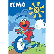 "Royal Plush Extra Heavy Twin Size Mink Blanket 60"" x 80"") - Elmo Riding a Tricycle"