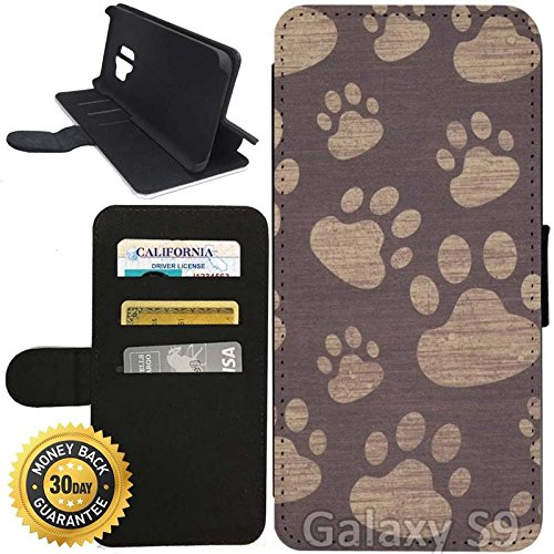 Prints Wallet Paw (Flip Wallet Case for Galaxy S9 (Paw Prints) with Adjustable Stand and 3 Card Holders   Shock Protection   Lightweight   Includes Stylus Pen by Innosub)
