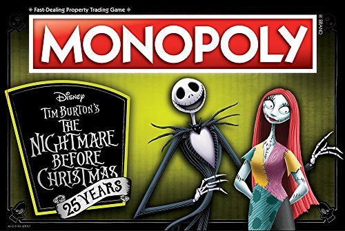 Monopoly Nightmare Before Christmas 25 Years Board Game | 25th Anniversary of The Iconic Tim Burton Nightmare Before Christmas Movie | Themed Monopoly Game | Custom Collectible Tokens ()