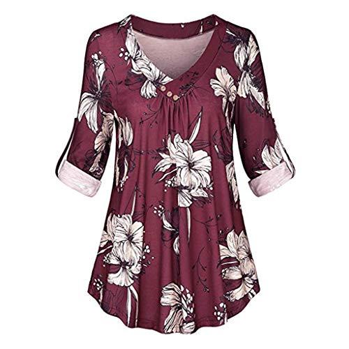 Henleys,Toimoth Womens Short Sleeve V Neck Floral Printed Ruffle Shirt Loose Zipper Tunic - Boutique Lulu Dress Baby