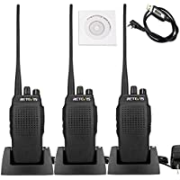Retevis RT26 Two Way Radio 10W 3000 mAh High Power UHF 400-470MHz VOX Scan Handheld Transceiver(3 Pack) and Programming Cable