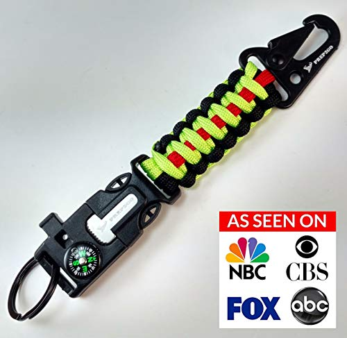 PREP2GO Paracord Survival Keychain-Compass Whistle Firestarter Kit-Cool Gadget Gifts for Husband Dad Men Him or Her-Camping Hiking Hunting-Mom,Teen Girl Boy Scout Can Get Fire & Shelter in Emergency!