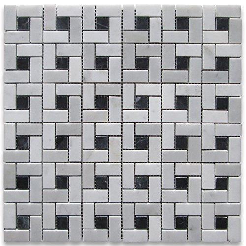 Carrara White Italian Carrera Marble Target Pinwheel Mosaic Tile
