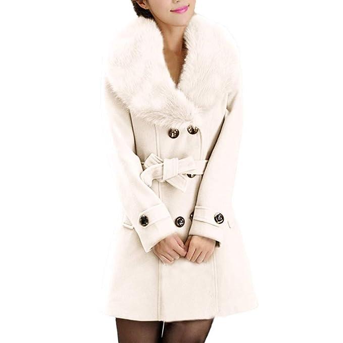 0b95f99b6be05 LHWY Femme Manteau Jacket Trenchcoat Caban Femme Laine Double ...