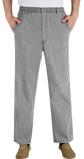 9934d352643 Lutratocro Men s Linen Straight Leg Cozy Elastic Waist Loose Fit Pure  Colour Pants Dark Grey Small