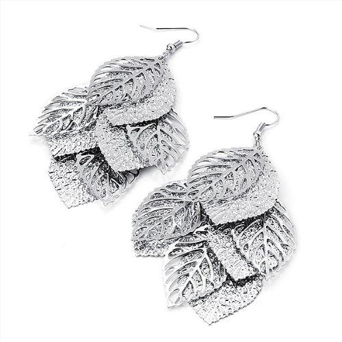 Boucles d'Oreille Feuille Texturée Plaqué Argent - Pendant 8cm
