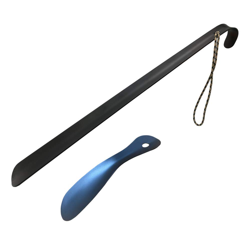 Long Handled Metal Shoe Horn - Set of 2 High Carbon Stainless Steel 16.5'' and Travel Size Shoe Horn 7.4'' Black