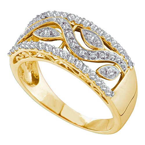 10kt Yellow Gold Womens Round Diamond Vine Leaf Band Ring 3/8 (0.25 Ct Diamond Leaf)