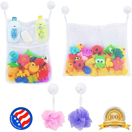 2 x Mesh Bath Toy Organizer + 6 Ultra Strong Hooks - The Perfect Bathtub Toy Holder & Bathroom or Shower Caddy - These Multi-use Net Bags Make Baby Bath Toy Storage Easy - For Kids & Toddlers