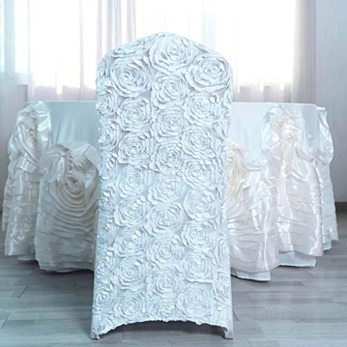 Efavormart Satin Rosette White Stretch Banquet Spandex Chair Cover Dinning Event Slipcover for Wedding Party Banquet Catering