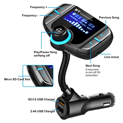 RBNANA Transmisor FM Bluetooth Transmisor FM Kit de Coche Manos Libres inal/ámbrico Adaptador de Radio Cargador de Coche con QC3.0