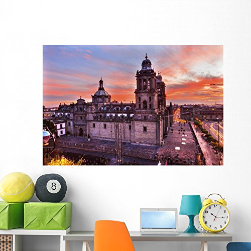 Wallmonkeys Metropolitan Cathedral Zocalo Mexico Wall Mural Peel and Stick Graphic (60 in W x 40 in H) WM368591