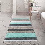 HEBE Extra Long Bath Rug Runner for Bathroom Extra Large Non Slip Microfiber Bathroom Mat Rug Runner Machine Washable Area Rugs(27.5' x55', Blue/Grey)
