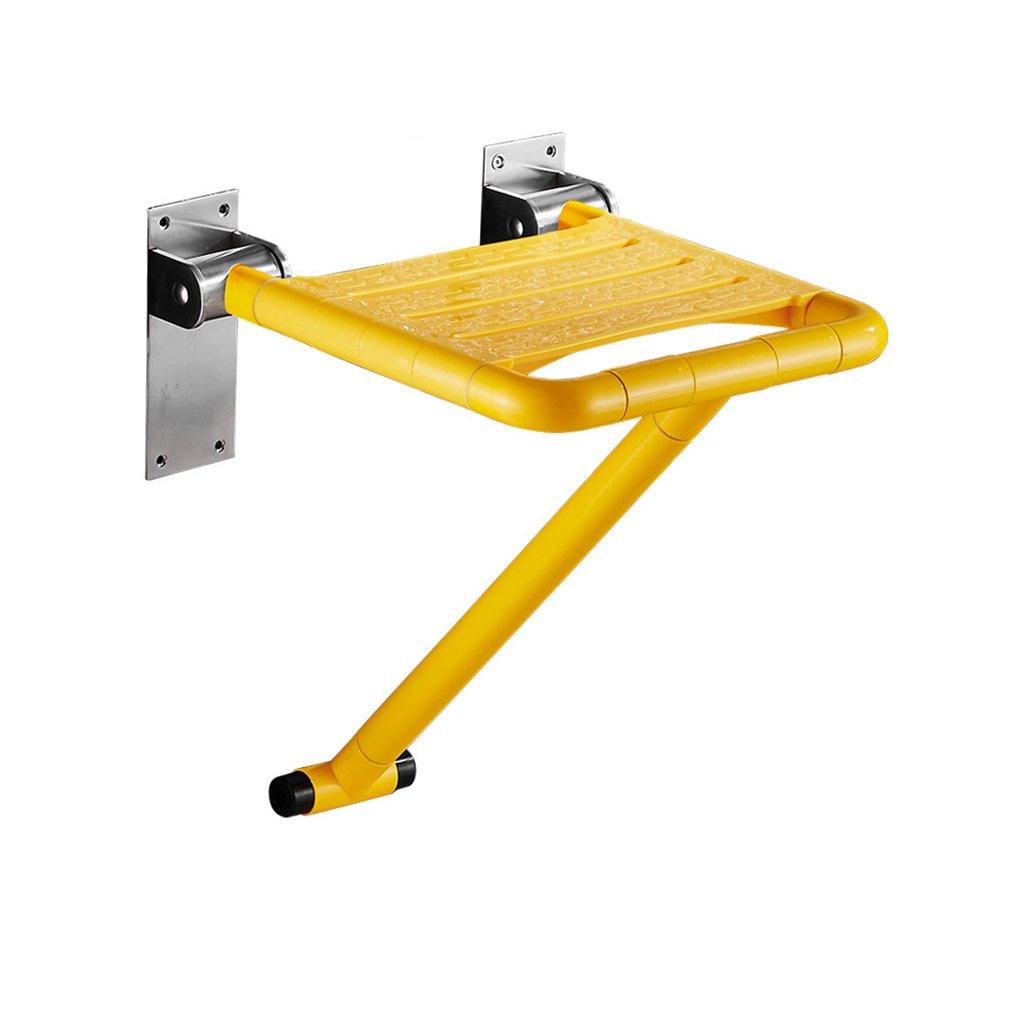 バスルーム折り畳みスツールウォールシャワーシートトイレ高齢シャワーウォールチェアバススツール (色 : イエロー いえろ゜, サイズ さいず : B) B07DFMPMKL  イエロー いえろ゜ B