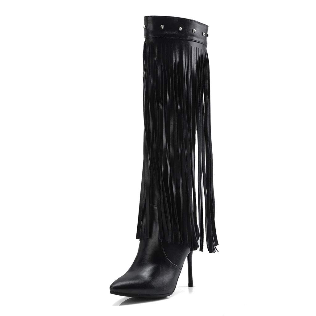Black Fringed High Boots, High Heel Pointed Back Zipper Knee Boots Waterproof Platform Non-Slip Elastic Knight Boots PU Women's Long Tube shoes