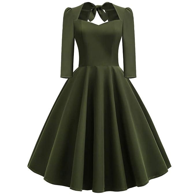 3fcebad55fa Longra Damen 50er Vintage Langarm Audrey Hepburn Abendkleid Cocktailkleid  Einfarbig Schwingen Pinup Rockabilly Kleid V-