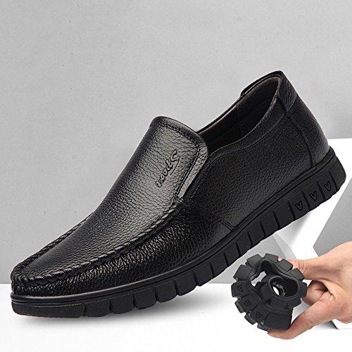 on de Genuino Cuero Holgazán de Hombres Hombres Caballeros de Superior Cuero Vaca Zapatos Slip para Plana de los los de Piel Suave de Black para Suela fd068w