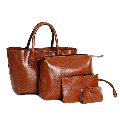 Ephraim Handbags for Ladies Fashion Leather Handbags+Tote Bag+Purse+Card Holder 4pcs Shoulder Bag Brown-b