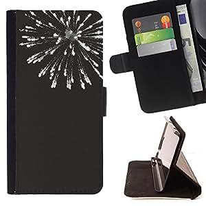 - new years black white fireworks 4'th - - Prima caja de la PU billetera de cuero con ranuras para tarjetas, efectivo desmontable correa para l Funny HouseFOR Sony Xperia M2