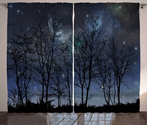 Ambesonne Night Sky Curtains, Deep Spooky Forest Branches Cosmos Galaxy Stars Clusters Astronomy View, Living Room Bedroom Window Drapes 2 Panel Set, 108