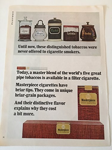 1965 Masterpiece Briar Tip Cigarettes Magazine Print Advertisement