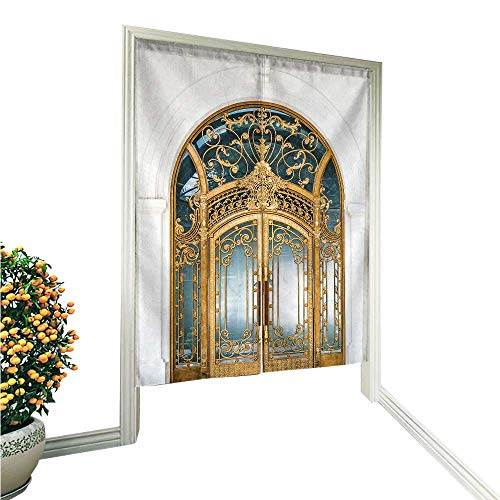 "aolankaili Noren Style Doorway Curtain Arched Doorway Door Made of Wood g and Glass Reflect Arch White Doorway Curtain 36"" W x 66.9"" L"