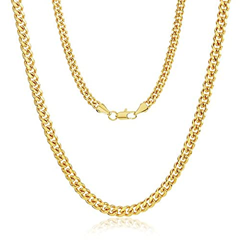 4mm 14k Yellow Gold Plated Cuban Curb Link Chain with Lobster Clasp, 20