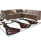 African Woman,Floor Mat,Young Women in Stylish Native Costumes Carnival Festival Theme Dance Moves,Living Dining Room Bedroom Hallway Office Carpet,Multicolor,5'x6'