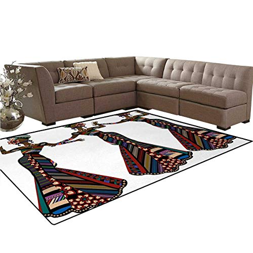 African Woman,Floor Mat,Young Women in Stylish Native Costumes Carnival Festival Theme Dance Moves,Living Dining Room Bedroom Hallway Office Carpet,Multicolor,5'x6' by smallbeefly