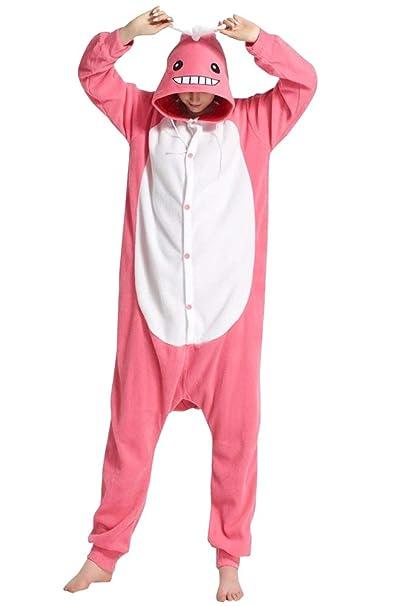 Honeystore Funny Animal Pjs One Piece Halloween Cosplay Costume Pajama  Sleepwear Pink Whale S 26f2fb7fc