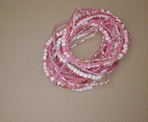 Naturel Design Bohemian Jewelry Collection - Pink Fantasy: Seventeen-Layer Pink, White and Dark Red Bohemian Stretch Beaded Bracelet for Women - Handmade Jewelry for Women