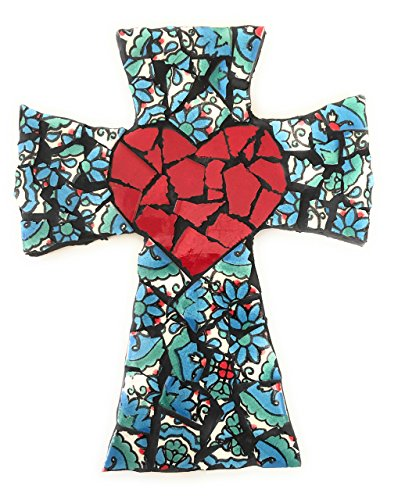 (Mexican Tile Talavera Wall Cross Mosaic Red Heart and Multi colored)