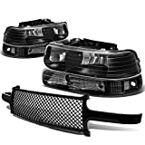 For Chevy SIlverado Suburban Tahoe Pair of Black Housing Clear Corner Headlight+Black Meshed Front Grille