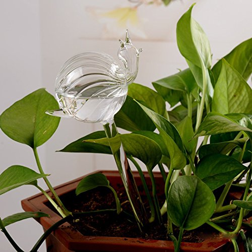 Automatic Potted Waterer Self Plant Watering Bird Glass Drip Auto Feeder Smart House indoor Desk Plants Food Water Container Can Irrigation Irrigator Controller Drippers Adapter kids (2pcs Snails)