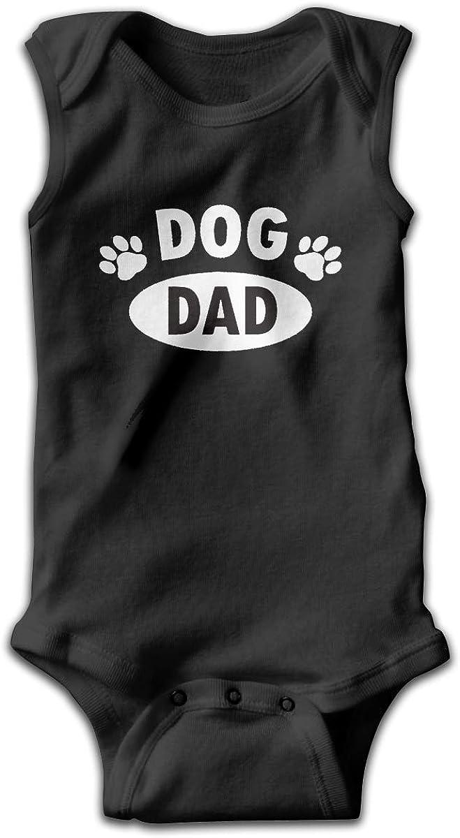 Paw Dog Dad Baby Newborn Crawling Suit Sleeveless Onesie Romper Jumpsuit Black