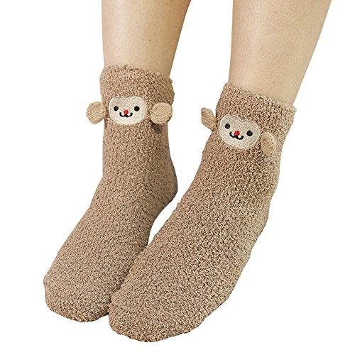 ShengTu Women's Cute Thicken Fuzzy Crew Socks (Brown Monkey)