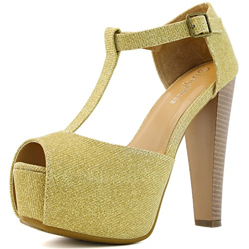 DailyShoes Women's Peep Toe Platform Sandal Pumps Open Toe Ankle Buckle T-Strap Extreme Evening Party Dress Casual Shoes, Gold Gl, 10 B(M) US
