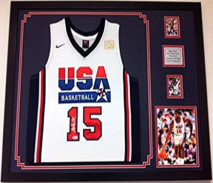 2ef10747aa0e Magic Johnson Autographed Framed Jersey USA Olympic Dream Team Signed PSA  Frame