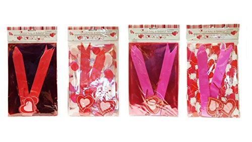 8 Valentine Cello Bag-A-Baskets with 8 Pull Bows and 8 Tags! 4 Different Styles!