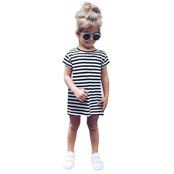 💜 Vestidos a Rayas de Niña, Fiesta Infantil de Manga Corta para Niña Pequeña Infantil de Manga Corta con Rayas Vestidos de Princesa Absolute: Amazon.es: ...